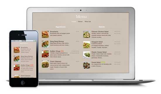 sitio web móvil de restaurante