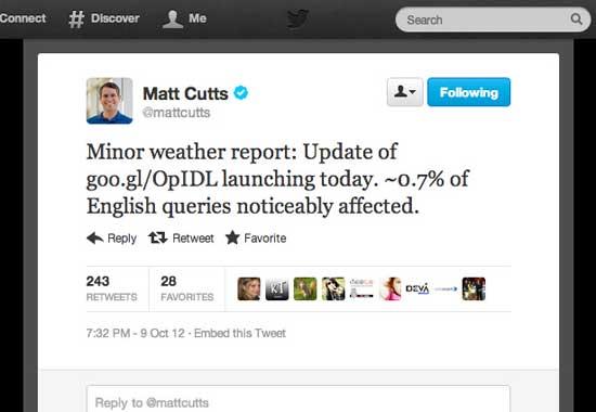 twit de Matt Cutts sobre el pliegue