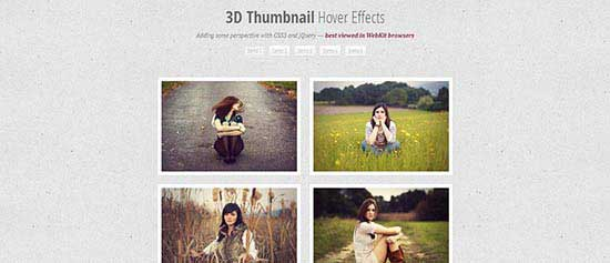 3D Thumbnail hover effect