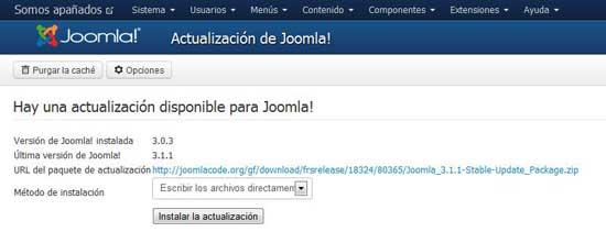 aviso de actualizacición a Joomla 3.1.1