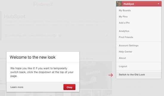 cambiar a nueva imagen de Pinterest