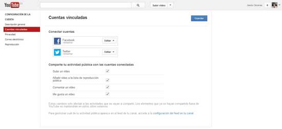configuración de Youtube, cuentas vinculadas Twitter y Facebook
