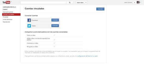 configuración Youtube, cuentas vinculadas