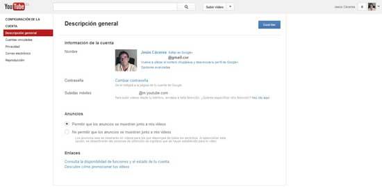 configuración Youtube, descripción general