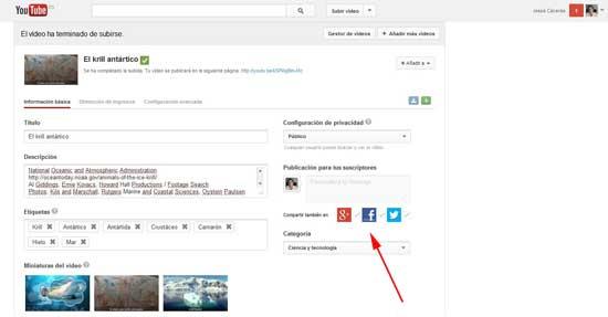 Youtube subir vídeo
