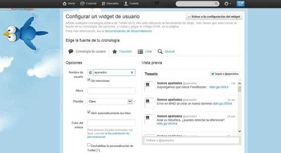 Herramienta de Twitter para crear Widget personalizado