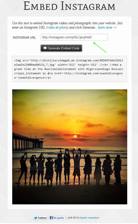 Embed Instagram, generar código