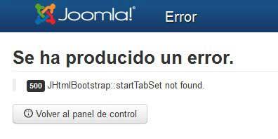 error Joomla 3.1 en panel de administración