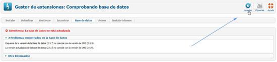 error gestión de extensiones, basede datos no actualizada - arreglar