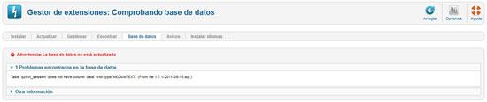 error gestión de extensiones, base de datos