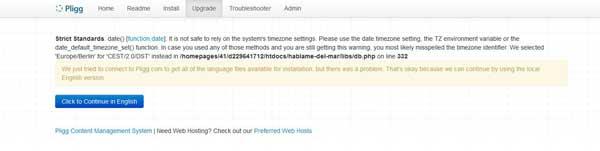 error timezone actualizando a Pligg 2.0