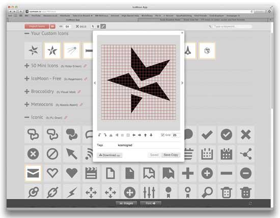 exportar iconos de IcoMoon