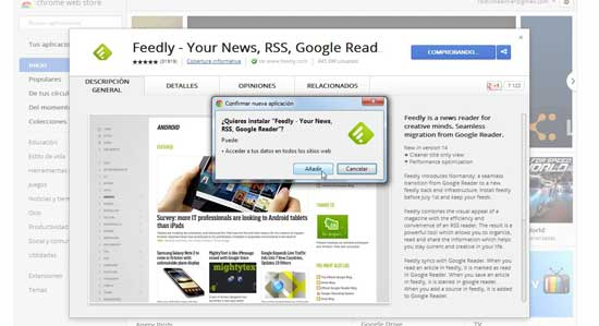 Feedly para Google Chrome - añadir