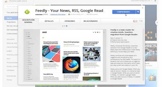 Feedly para Google Chrome - comprobando