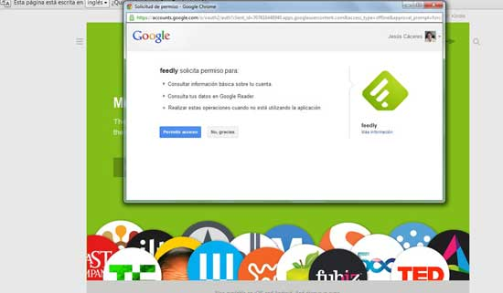 Feedly para Google Chrome - permitir acceso
