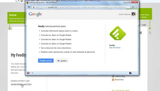 Feedly para Firefox - añadir y permitir