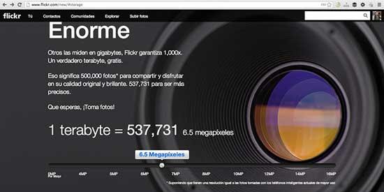 Flickr 1TB de almacenamiento gratis