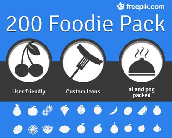 foodie, 200 iconos de alimentos