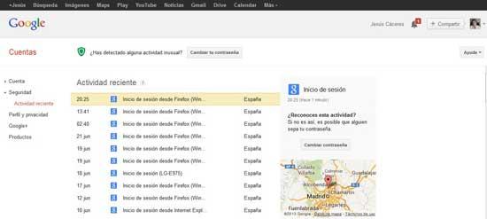 actividad reciente en la cuenta de Google