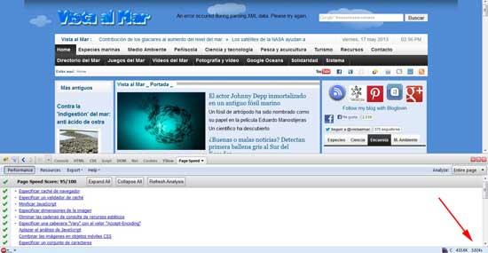 Google Page Speed Vista al Mar, herramienta de Firebug
