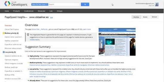 Google Page Speed Vista al Mar