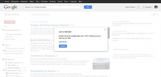 Google Reader, aviso de backup de datos