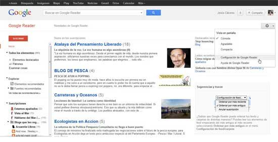 Google Reader, configuración