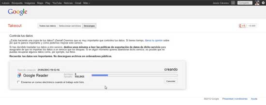 Google Reader, copia de datos con Google Takeout crear archivo