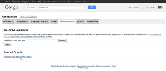 Google Reader, exportar información