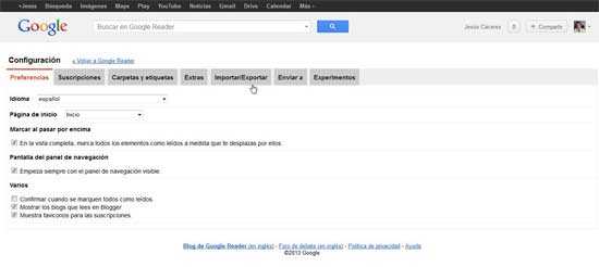 Google Reader, exportar
