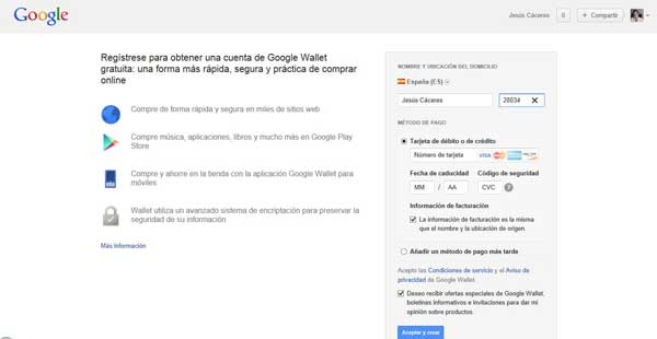 Google Wallet, registro