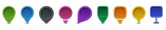 iconos para Google Maps, banderines de colores