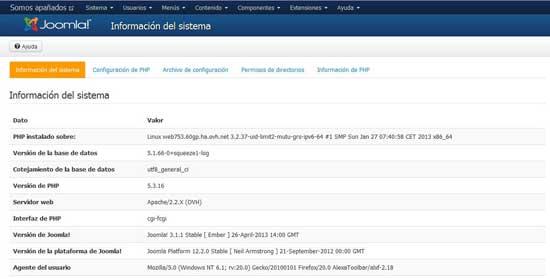 información del sistema con versión Joomla 3.1.1