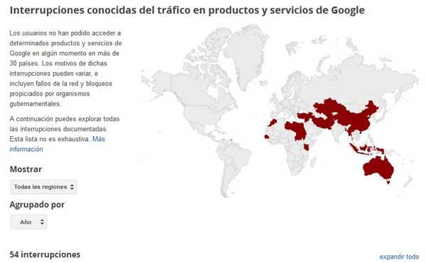 interrupciones de tráfico de Google