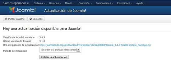 Joomla 3.1 actualización