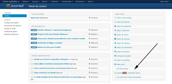 joomla 3.1, aviso de actualización