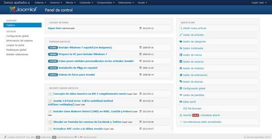 Joomla panel de administración, actualización 3.1.1