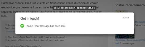 mailto convertido en formulario por SquareSend, enviado