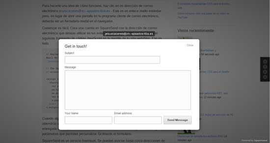mailto convertido en formulario por SquareSend