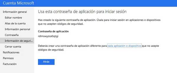 Microsoft contraseña aplicación