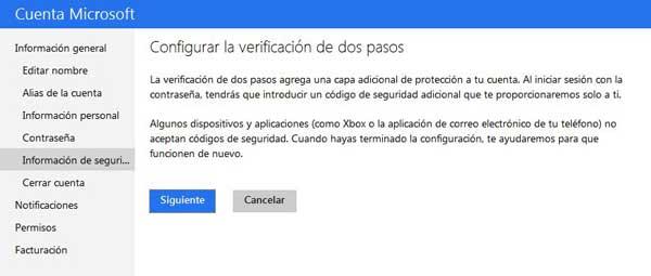 Microsoft, verificación dos pasos iniciar