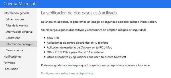 Microsoft, verificación dos pasos finalizada