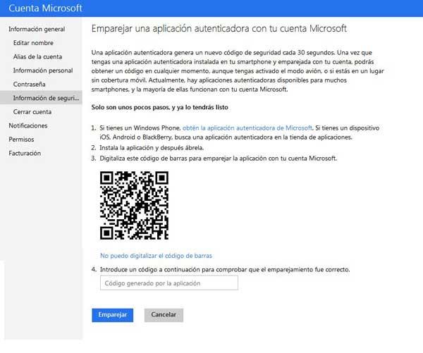 Microsoft, emparejar aplicación autenticadora
