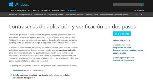 Microsoft, verificación dos pasos aplicaciones