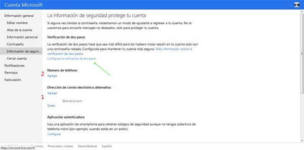 Microsoft, verificación dos pasos, móvil y correo