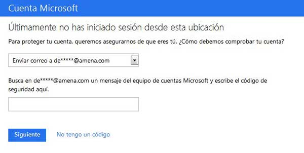Microsoft verificación login ubicación no habitual, código email