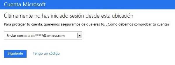 Microsoft verificación login ubicación no habitual