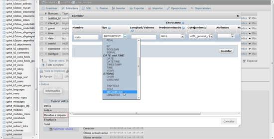 phpmyadmin tabla session columna data