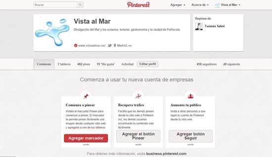 Pinterest cuenta de empresa