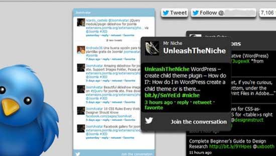 widget de Twitter personalizado